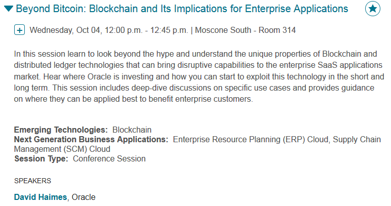 My OOW17 Blockchain Session